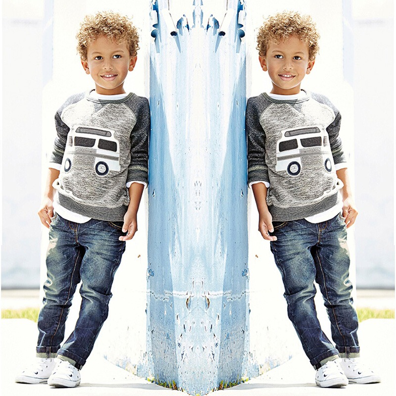 Kids Boys Long Sleeve Pullover Shirt + Jeans Denim Trousers 2016 Spring Kids Clothes  Casual Boys Clothing Set kids boys long sleeve pullover shirt jeans denim trousers 2016 spring kids clothes casual boys clothing set