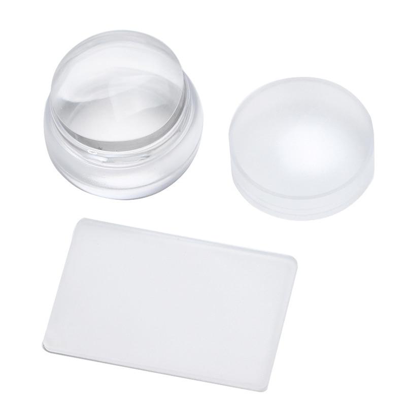 Elecool 2 Unids/set 3,8 Cm Claro Transparente De Silicona Stamper Con Tapa Uñas Arte Stamper + Raspador Fácil Limpio Uñas Herramienta