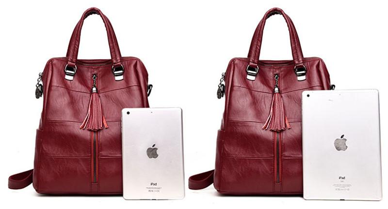 14dcb4192be4 HOT SALE] Women Multifunction Backpack Leather Tassel Shoulder Bag ...