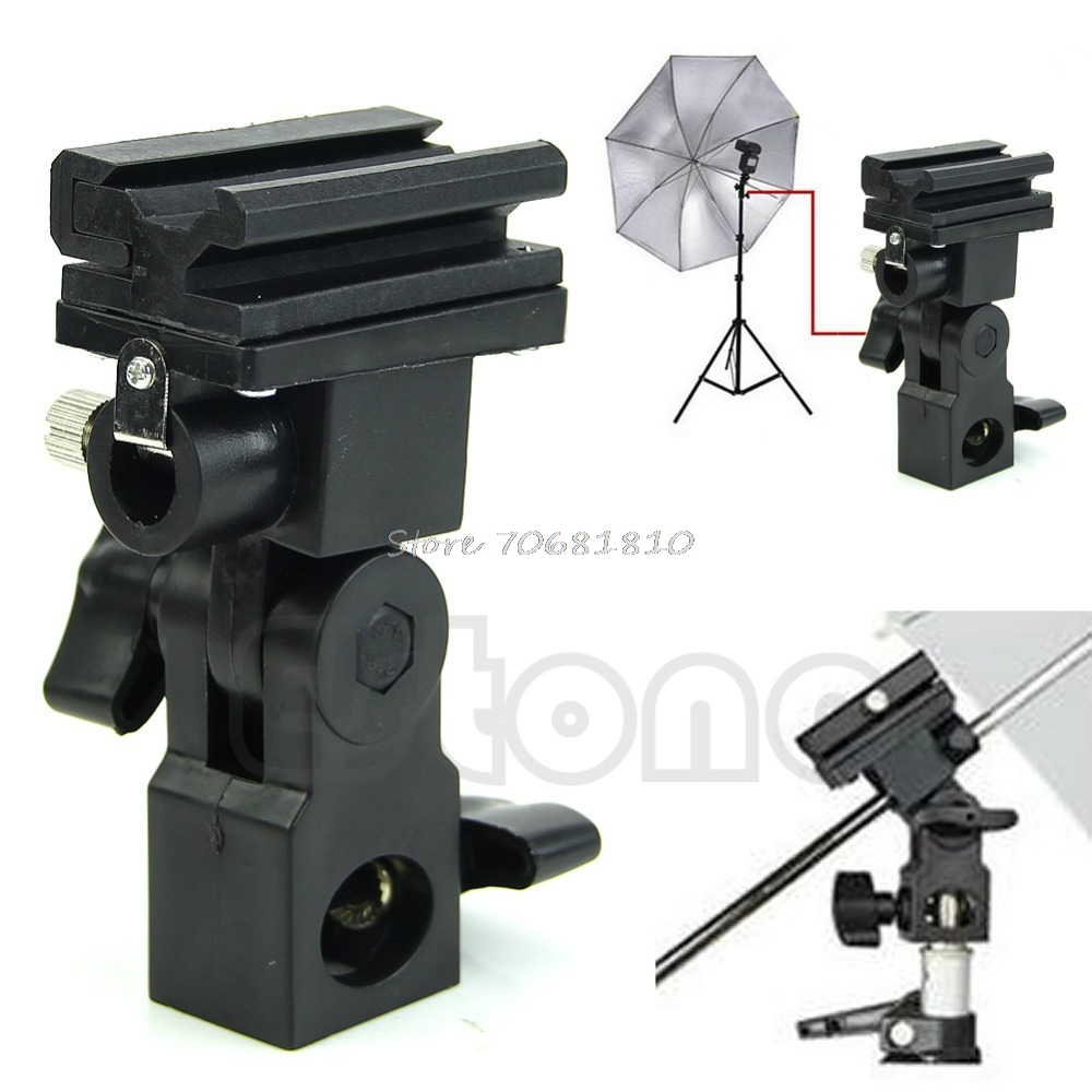 Photo Flash Adapter Hot Shoe Swivel Mount Light Stand Bracket B Umbrella Holder R179T Drop Shipping