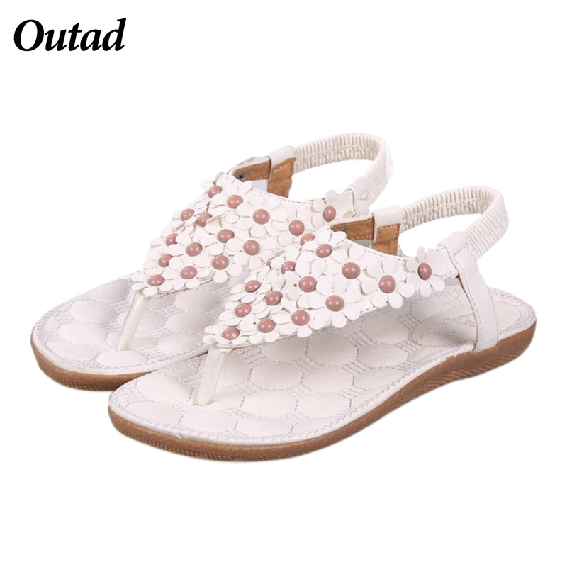 OUTAD Summer Women Shoes Flats Sandals Female Bohemia Girl Casual PU Leather Flower Floral Beach Flip Flops Sandals pink vietnam sandals flats female summer outdoor leisure shoes