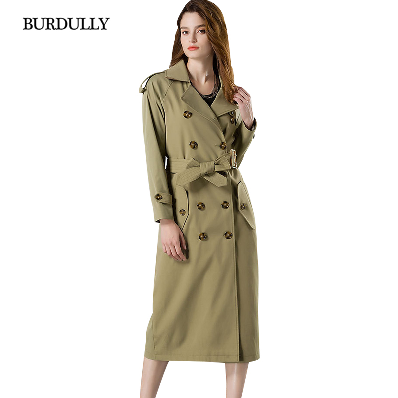 BURDULLY England Style Autumn Long Trench Coat Woman Casual Winter 2019 Double Breasted Windbreaker Outerwear Good Quality