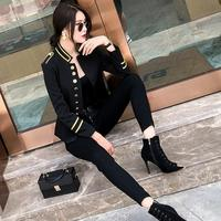 2018 Autumn fashion new women's jacket coat Slim short military uniform tunic outwear female metal single breasted jacket L1202