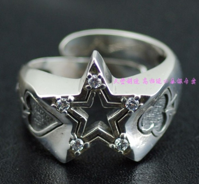 New authentic GV set auger five-star openings 925 sterling silver ring