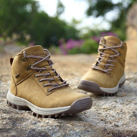 QIANDA Profession Men Mountain Hiking Shoes Winter Climbing Lace-up Leather Waterproof Outdoor Trekking Boots Brand Sneakers Man Multan