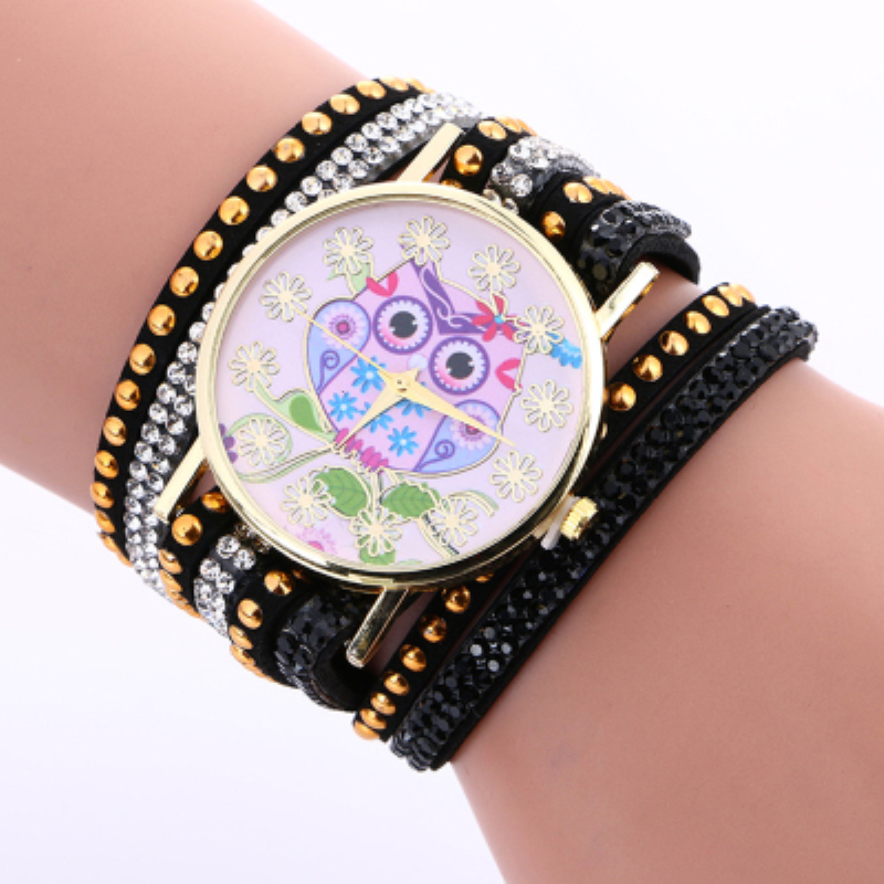 Watch Women Watches Fashion Owl Pattern Chimes Leather Bracelet Lady Womans Wrist Watch relogio feminino