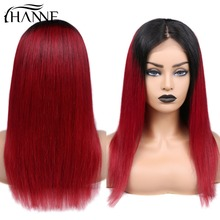 HANNE 4*4 Lace Closure Wigs Wine Red Middle Part For Women 150%  #1B/Red Human Hair Straight Brazilian Remy
