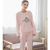 2017 JINUO Pyjamas Women Flannel Adults Winter Warm Pajama Sets Long Sleeved Velvet Pink Cartoon Sleepwear