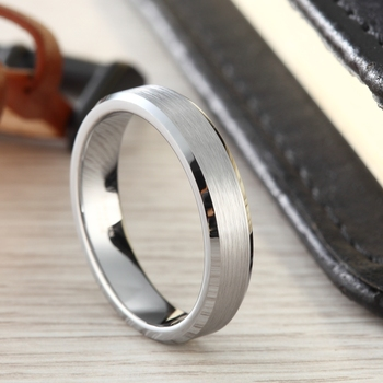 4mm Silver Brushed finish with Polished Beveled Edge Tungsten Ring 1