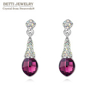 2015 Classic Water Drop Rhodium Plated Pendant Earrings Design For Women With Crystals From Swarovski For