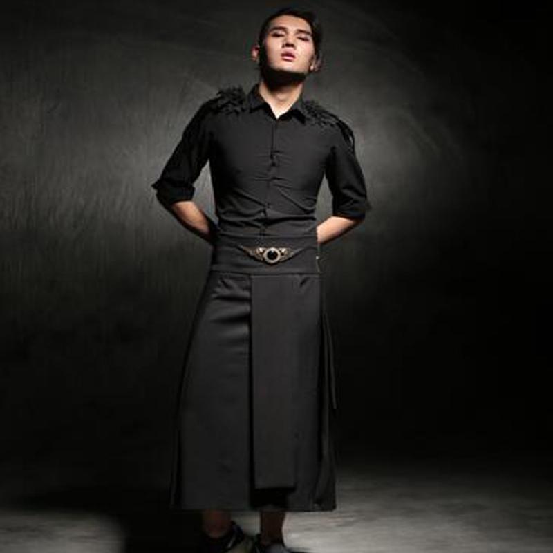aca3c5f97 Falda Casual para hombre con cintura ajustable pantalones Punk hip-hop  Avant Garde moda para hombre pantalones para club nocturno ropa estilista