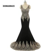 Glamorous Applique Beaded Floor-Length V Neck Backless Mermaid Prom Gowns Designer Evening Dresses DGE052