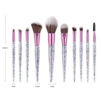 Fashion 9/10pcs Makeup Brush Set Glitter Shinny Crystal Foundation Blending Power Contour Face Cosmetic Beauty Make Up Tool Set 5