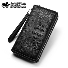 BISON DENIM Brand Men Designer Leather Genuine Alligator Double Zipper Clutch Bag Handbag Men's Bag Cowhide Wallet Free Shipping