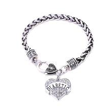 DIABETIC Bracelets Awareness Medical Alert Charm Bracelet White Rhinestone Heart for women jewelry