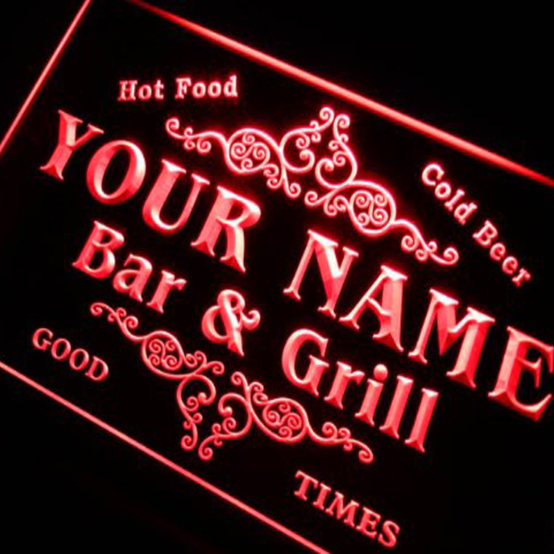 p-tm-b Name Personalized Custom Family Bar & Grill Beer Home Gift Neon Sign