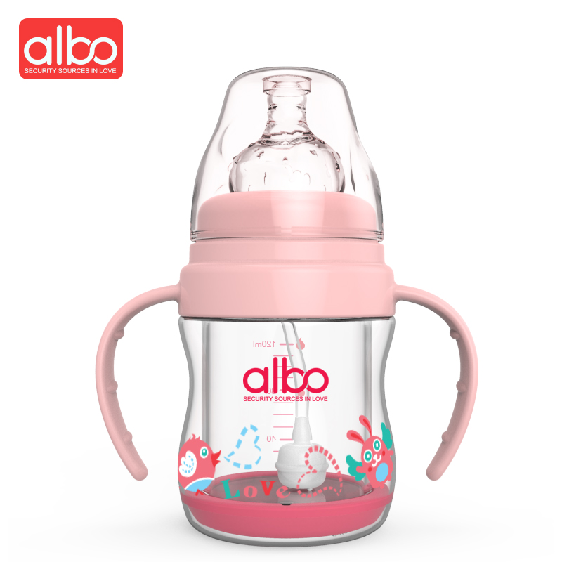 ALBO New Design 120ML Wide Mouth Glass Baby Feeding Bottle Middle Size Cute Glass Baby Milk Bottle BPA Free Safety For Kids ...