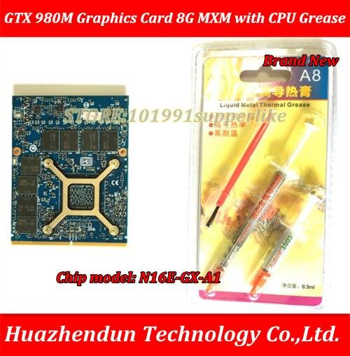 Brand New nVidia GeForce GTX 980 m Scheda grafica GTX980M 8 gb DDR5 MXM SLI N16E-GX-A1 con CPU Grasso per del computer portatile via trasporto libero del DHL SME