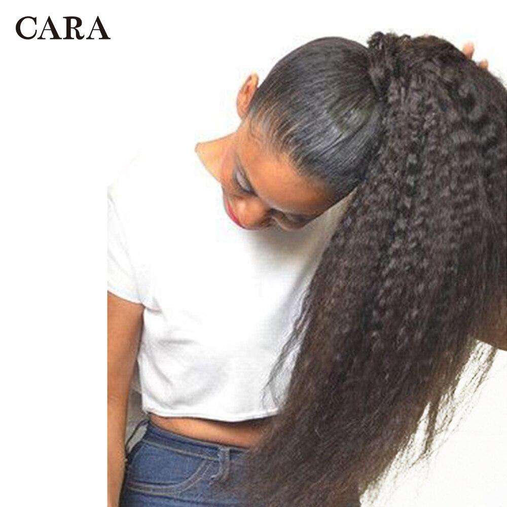 Kinky reta cabelo humano brasileiro cordão rabo de cavalo grampo em extensões de cabelo cor natural remy puff produtos rabo de cavalo cara