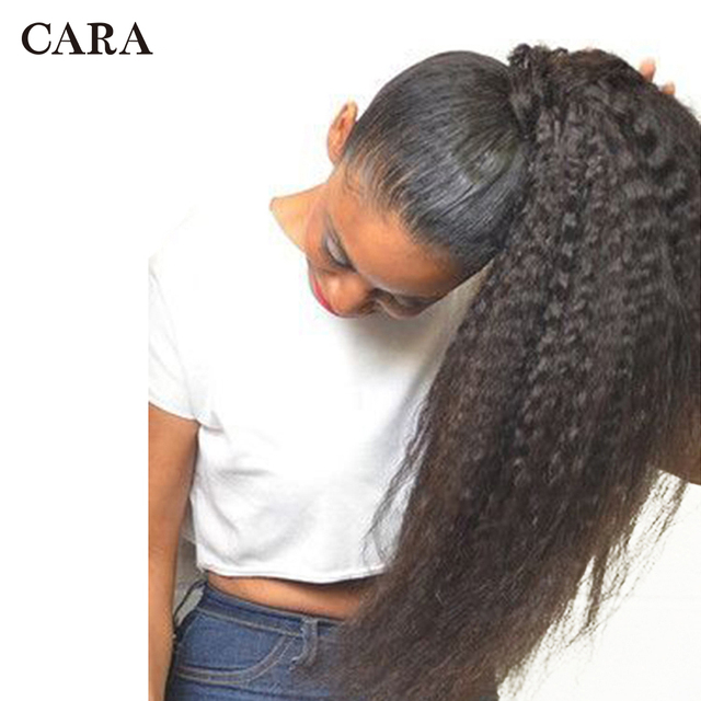 Pelo humano brasileño recto rizado Clip de cola de caballo en extensiones de cabello Color Natural Remy Puff Cola de Caballo productos CARA