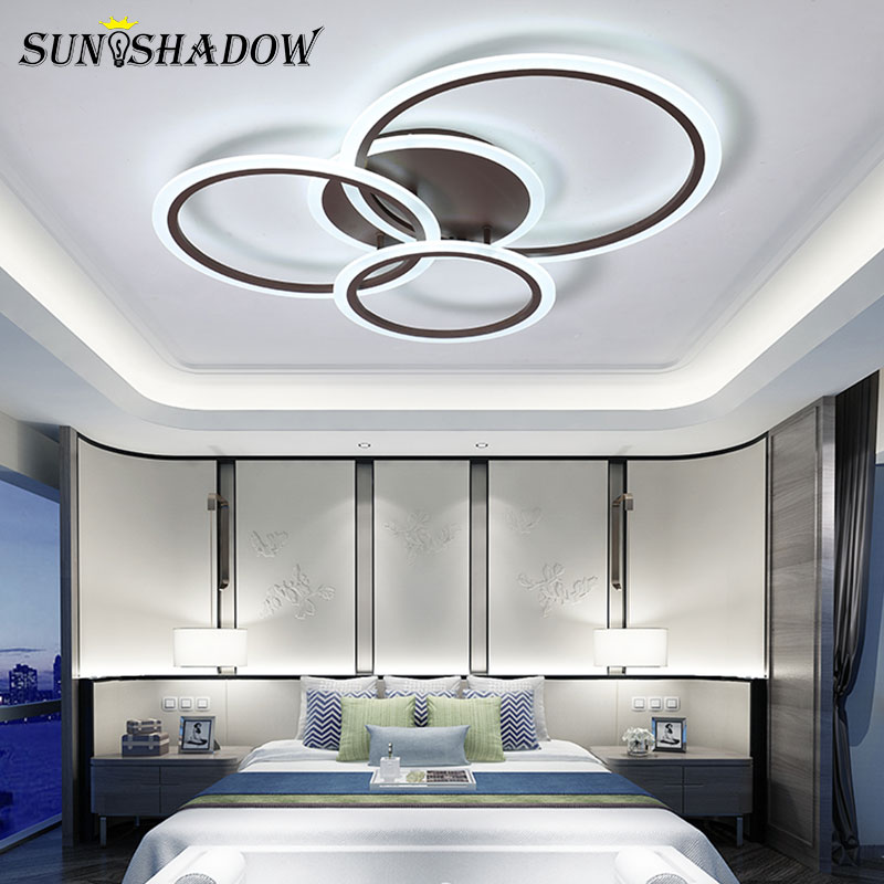 Plafondlamp Modern Led Ceiling Light For Living room Bedroom Kitchen White Coffee Acrylic Chandelier Ceiling Lamp