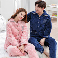 unicorn pajamas women pijama mujer lingerie stitch Flannel pajamas for men women 2018 new winter 3 layer thicken warm home suits