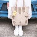 Gato encantador lindo bolso de lona hermana suave dulce de la muchacha fresca gran espacio mochila con orejas de gato diseño original bolso de hombro