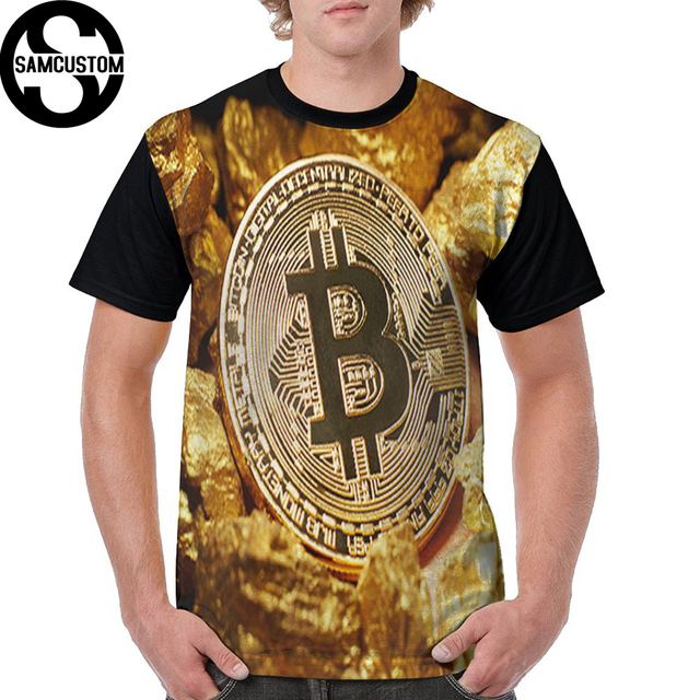 SAMCUSTOM Men T full printing cryptocurrency Gold Bitcoin 3D casual spring, summer and autumn men's short sleeve T-shirt
