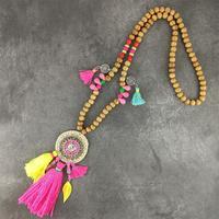 Новый Boho ручной работы длинные цепочки и ожерелья в богемном стиле Красочные Кисточкой Колье с подвесками для женщин морской пляж