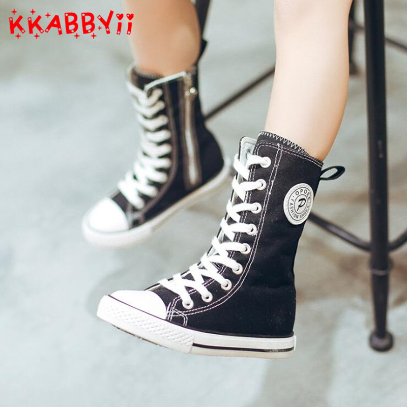 2018 New Spring Autumn Girls Canvas Shoes High Top Kid Brand Girl Leisure Sneaker Breathable Children Soft Sneakers Big Girl ...