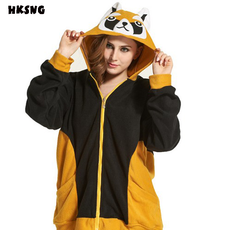 Womens Basis Long Sleeve Animals Raccoon Fox Owl Hooded Sweatshirt Cartoon