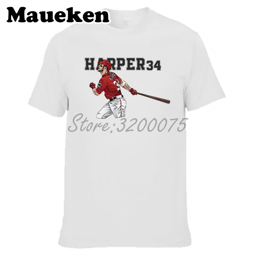 save off 1ff05 517a0 US $18.88 |Men Bryce Harper 34 Bryce Aron Max Harper T shirt Clothes  Washington T Shirt Men's for Nationals fans gift o neck tee W17081502-in  T-Shirts ...