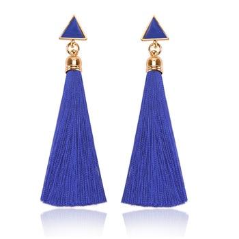 2018 Resin Stone Drop Earrings Gold Color Bohemian Vintage Black Blue Red Ethnic Long Fringe Tassel Earrings for Women Jewelry