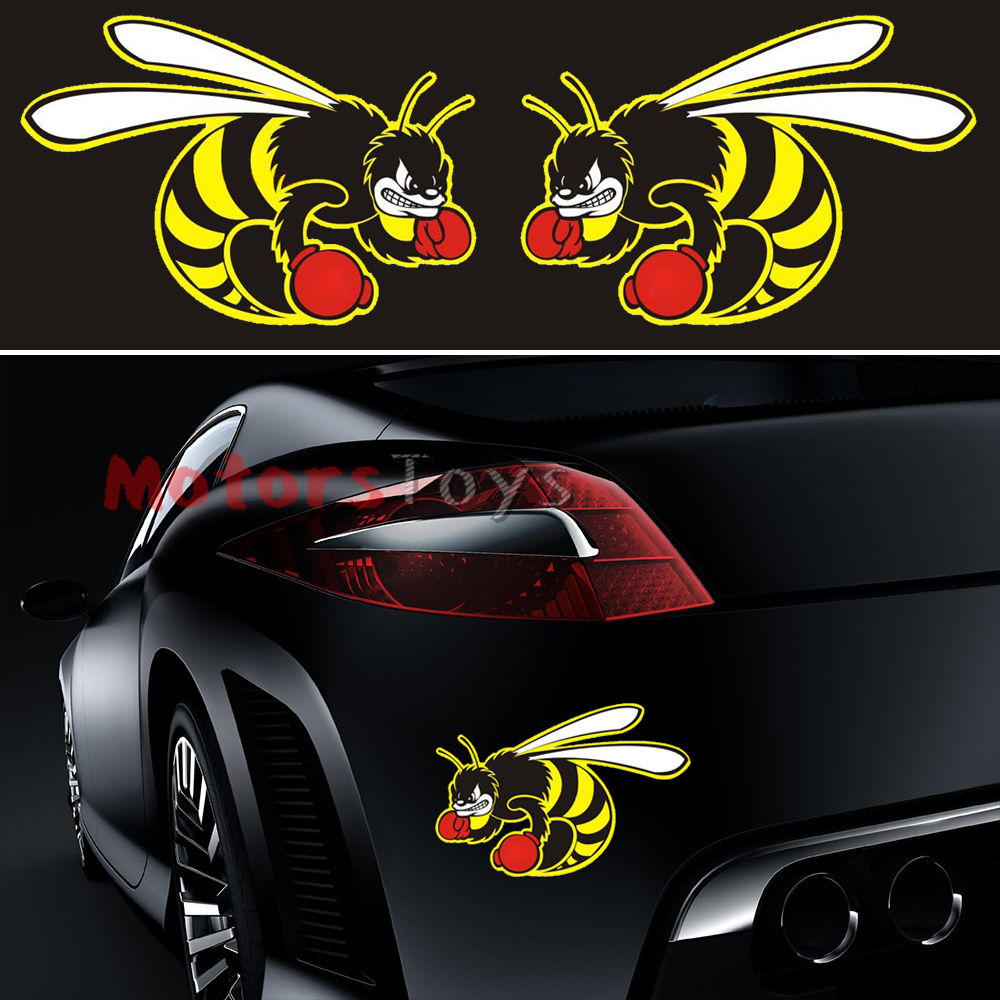Cool car sticker designs - 2pcs Creative So Cool Boxing Bee Racing Drift Hellaflush Vinyl Car Sticker Decal China