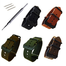 Replacement Watch Strap Handmade Crazy Horse Leather Strap Watch Band 24mm Zulu Nato Black Brown Green