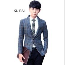 2017 autumn new men's suits Korean Slim casual lattice youth jacket jacket waist suit suit