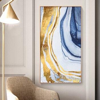 Wunderbar Abstrakte Fließende Farbe Goldene Leinwand Malerei Poster Und Drucken  Moderne Decor Wand Kunst Bilder Für Wohnzimmer Schlafzimmer Gang