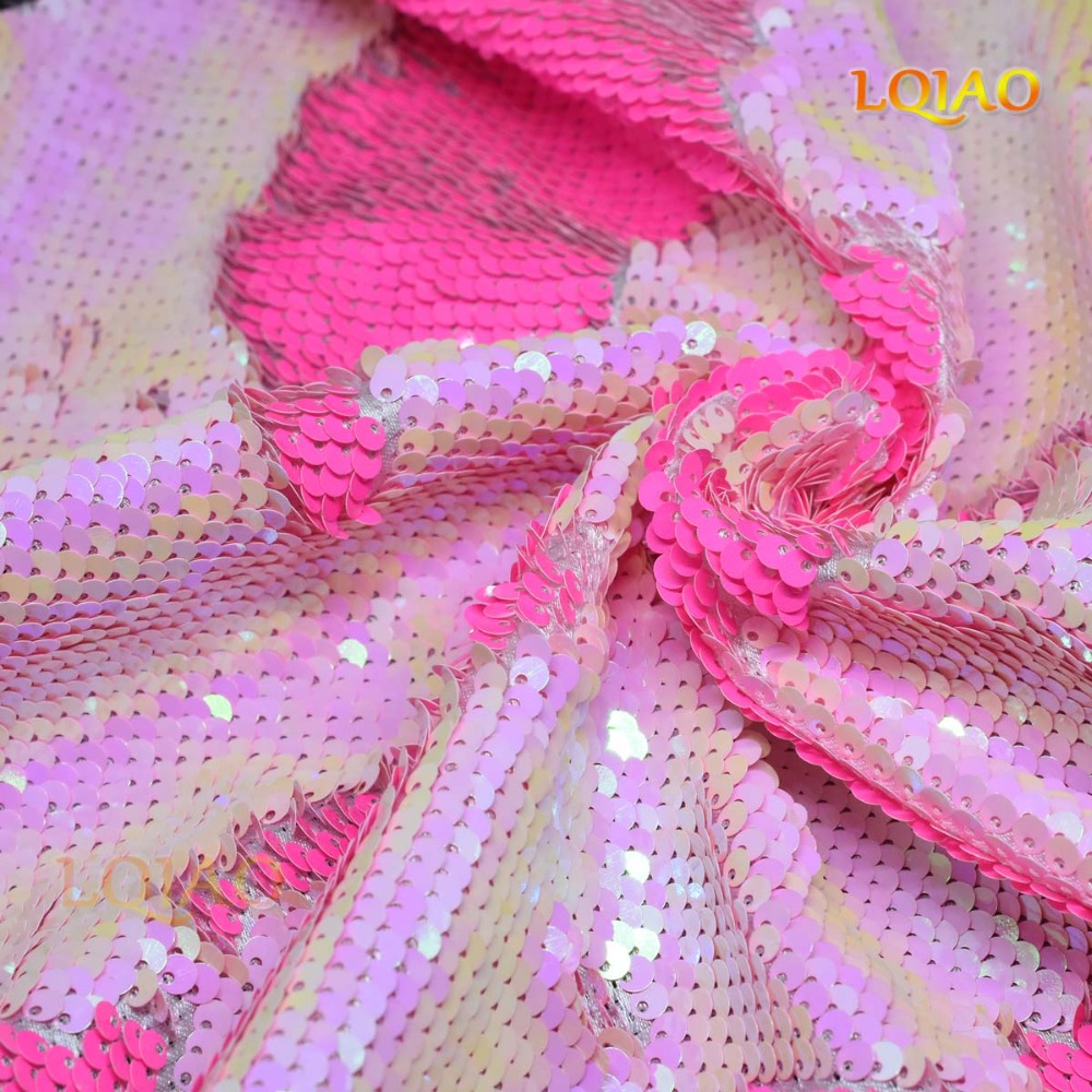 d9f47eef 125*45CM Neon Pink/White and Gold/Rainbow Reversible Embroidered Mermaid Sequin  Fabric For Dresses/Photo Backdrop Wedding Decor