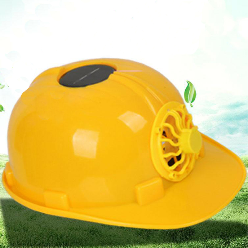 Arbeitsplatz Sicherheit Liefert Gelb Solar Power Fan Helm Außen Arbeits Sicherheit Harte Hut Bau Arbeitsplatz Abs Material Schutzkappe Angetrieben