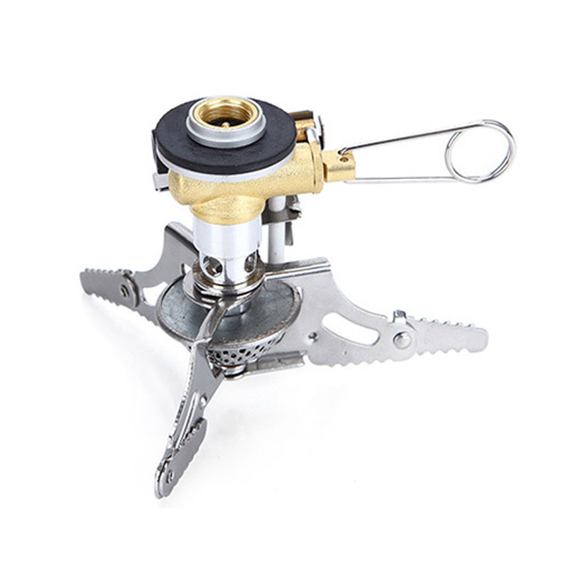 Hot Portable Folding Mini Camping Survival Cooking Furnace Stove Gas Burner Outdoor Stove Case Stainless Steel Tool Part HR outdoor portable ultra mini stainless steel gas stove with a case