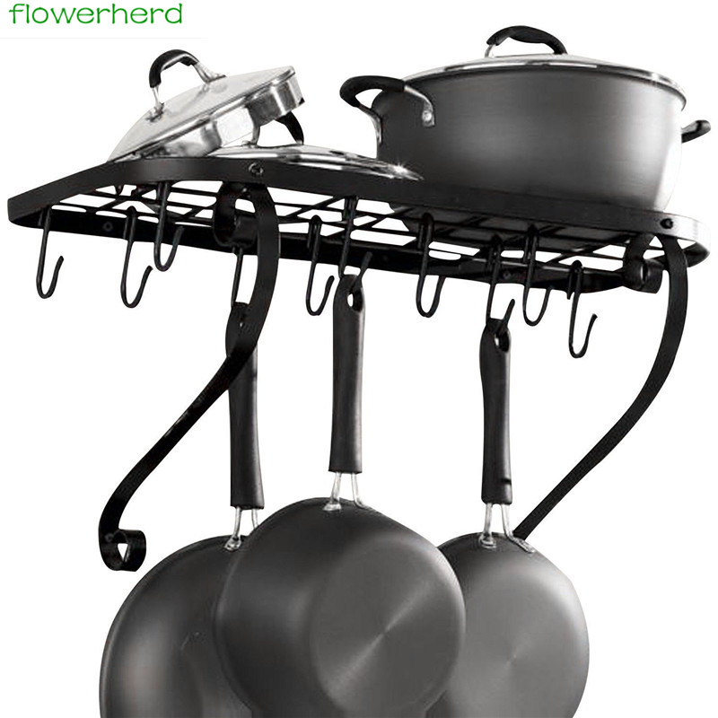 Kitchen Pot Rack Holder  Metal Wall Mounted Storage Shelf Organizer Hanging Pots Pans Hooks Storage Stand Kitchen Holders Tools Kitchen Pot Rack Holder  Metal Wall Mounted Storage Shelf Organizer Hanging Pots Pans Hooks Storage Stand Kitchen Holders Tools