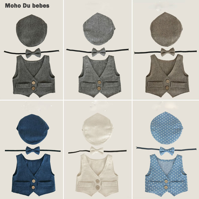 bd9f1a59b70 New Arrival Baby Boy Clothes Vest+Hat+Tieback Set Newborn Baby Photography  Prop Infant Costume Cute Outfits Photo Props Studio Y