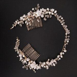 Image 2 - Delicate Süßwasser Perlen Braut Kopfstück Strass Kristall Haar Reben Crown Hochzeit Doppel Haar Kamm Bräute Haar Zubehör
