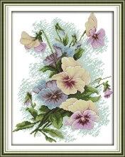 Pansy (2) Gezählt Kreuzstich 11CT Gedruckt 14CT kreuzstich Handgemachte Stickerei und Nähen Blumen Hand H500
