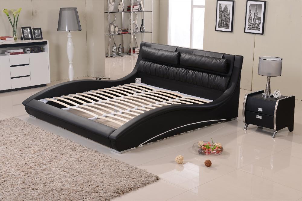 Muebles de dormitorio Confortable reposacabezas de cuero negro cama ...