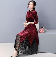 Осень зима новый стиль Slim Fit талии Высокий воротник вельветовое платье кружево прошитый подол плиссированные платья плюс размеры M/L/XL/2XL/3XL/4XL