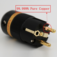 Viborg High End Pure Copper Gold Plated EU Schuko Power Plug For DIY Hifi Electrical Power