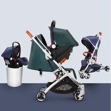 цены Baby Stroller 3 in 1 Hot Mom Luxury Baby Stroller Carriage Basket Multifunction Four Wheels Stroller with Car Safe Seat