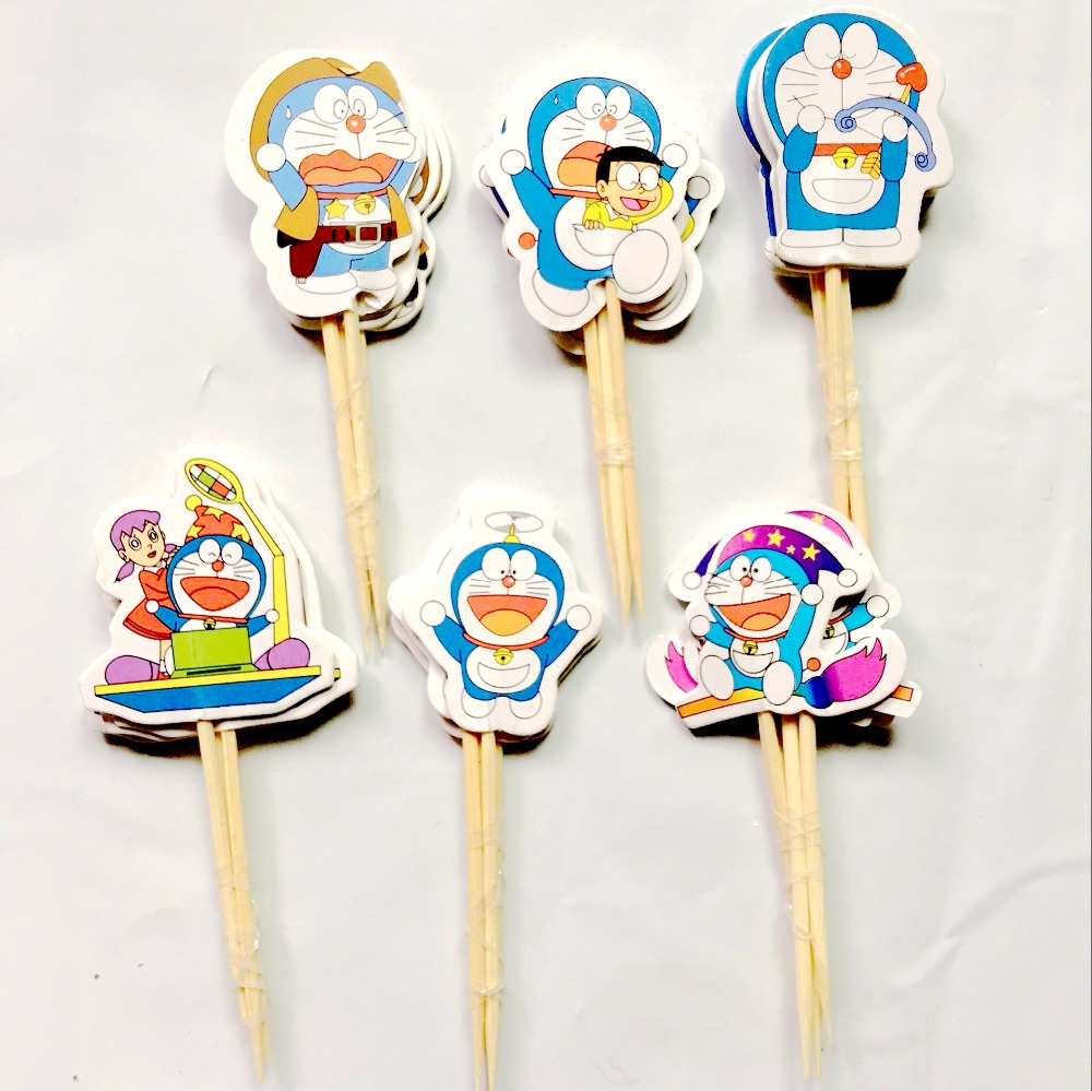 72pcs Jingle cats Doraemon Party Supplies Paper Cupcake wrappers toppers for kids Birthday party decoration Supplies Baby Shower
