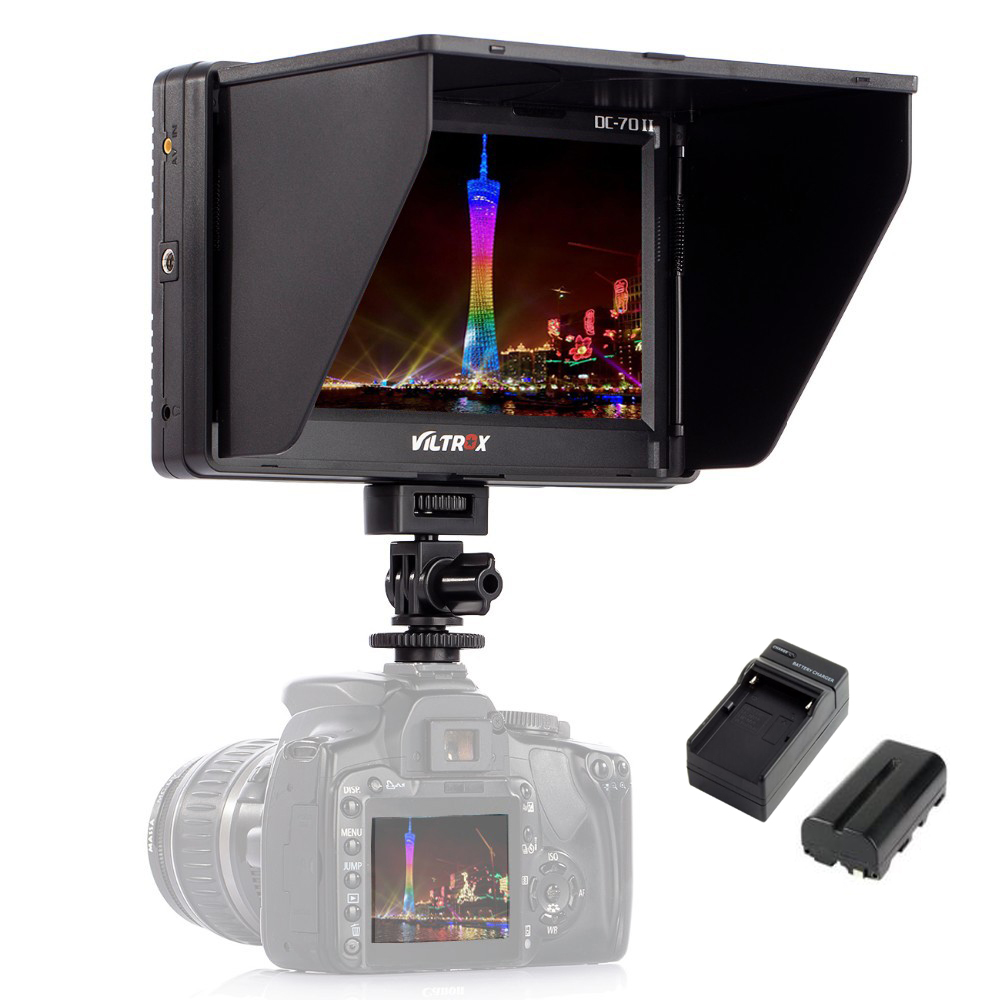 Viltrox 7 ''DC-70II Clip-on LCD HD HDMI AV Entrada 4 K Exibição do Monitor de Vídeo Da Câmera + Bateria + carregador para Canon Nikon DSLR BMPCC